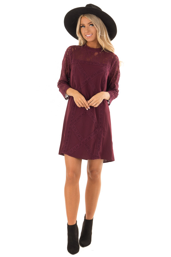 Dark Wine 3/4 Sleeve Dress with Sheer Lace Yoke Detail front full body