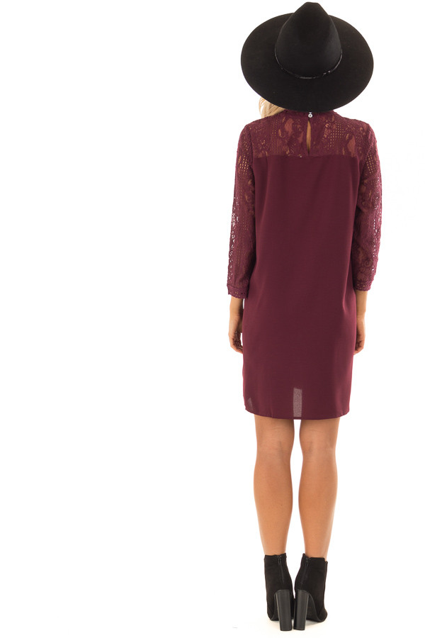 Dark Wine 3/4 Sleeve Dress with Sheer Lace Yoke Detail back full body