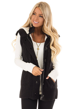 Black Knitted Zip Up Sweater Vest with Faux Fur Lining front close up
