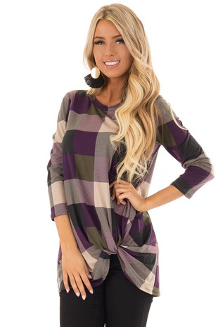 Plum and Olive Plaid Top with Front Twist Detail front close up