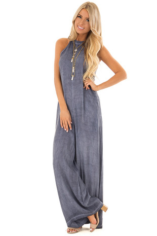 Washed Navy High Neck Wide Leg Jumpsuit with Pockets front full body
