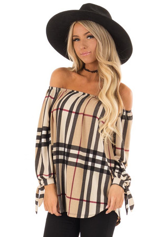 Taupe and Burgundy Plaid Off the Shoulder Top front full body