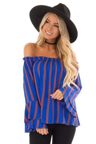 Royal Blue and Pumpkin Off the Shoulder Long Sleeve Top front close up