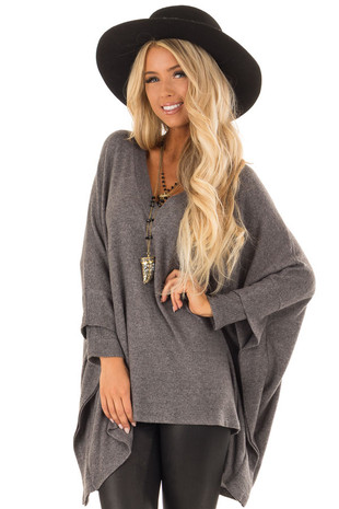 Charcoal Layered Poncho Style Sweater with V Neckline front close up