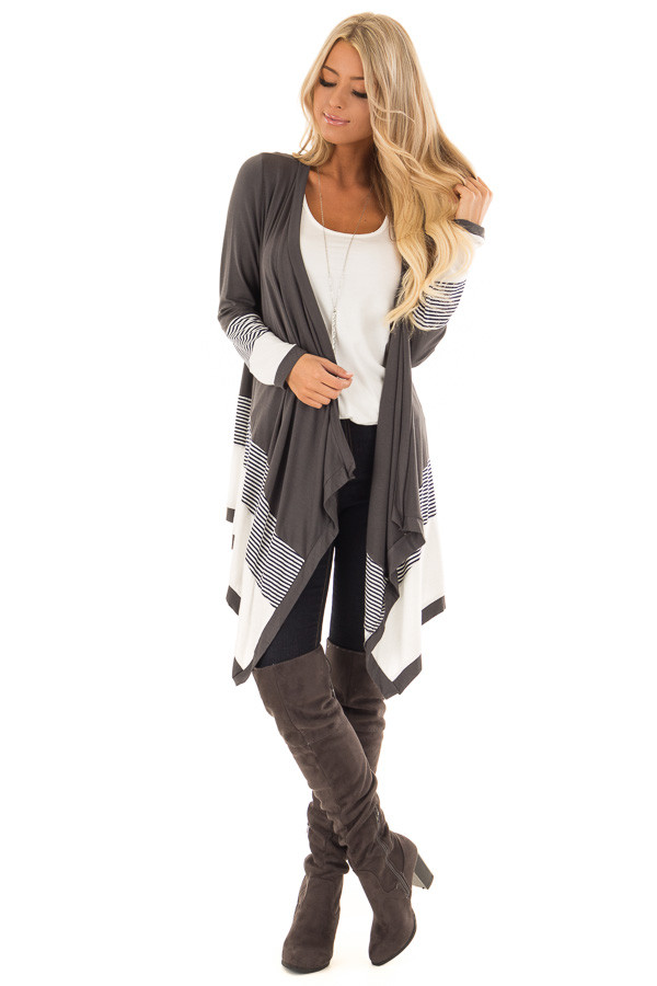 Charcoal Long Sleeve Waterfall Cardigan with Navy Stripes front full body