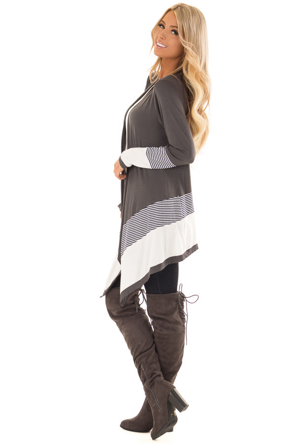 Charcoal Long Sleeve Waterfall Cardigan with Navy Stripes side full body