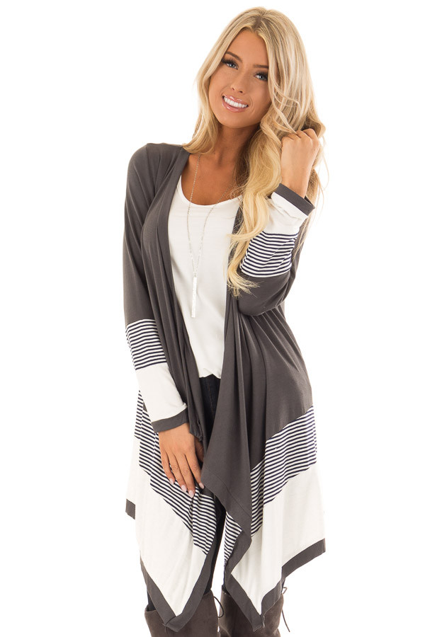 Charcoal Long Sleeve Waterfall Cardigan with Navy Stripes front close up