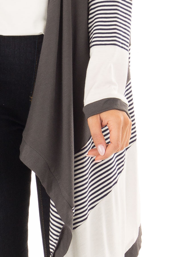 Charcoal Long Sleeve Waterfall Cardigan with Navy Stripes detail