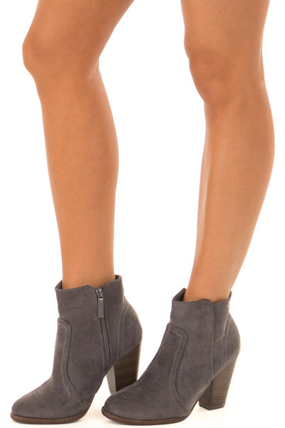 Charcoal Suede Booties With Walnut Stacked Block Heel front side view