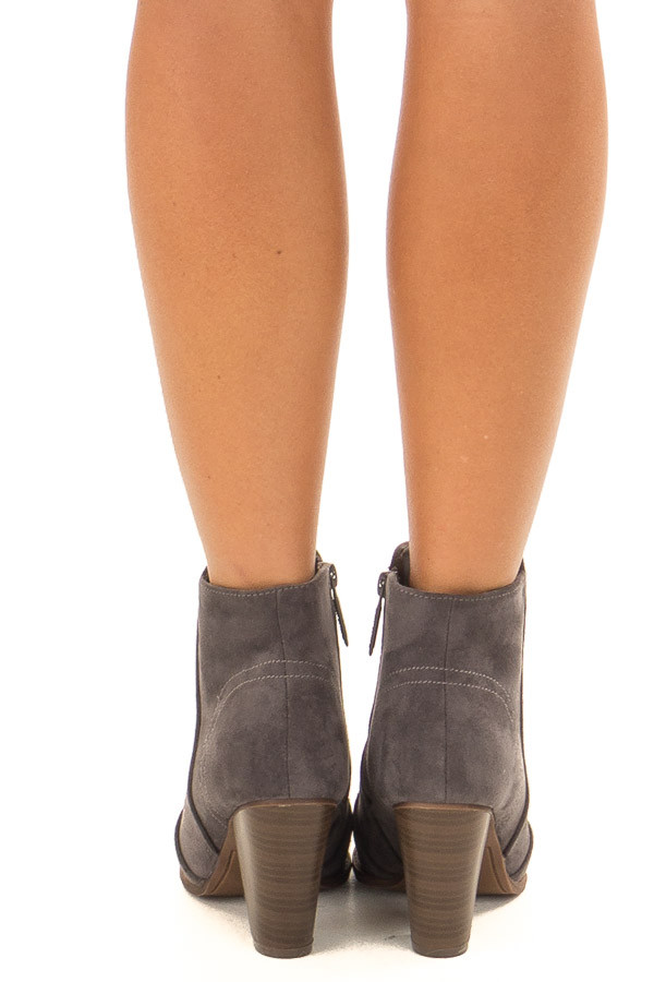Charcoal Suede Booties With Walnut Stacked Block Heel back view