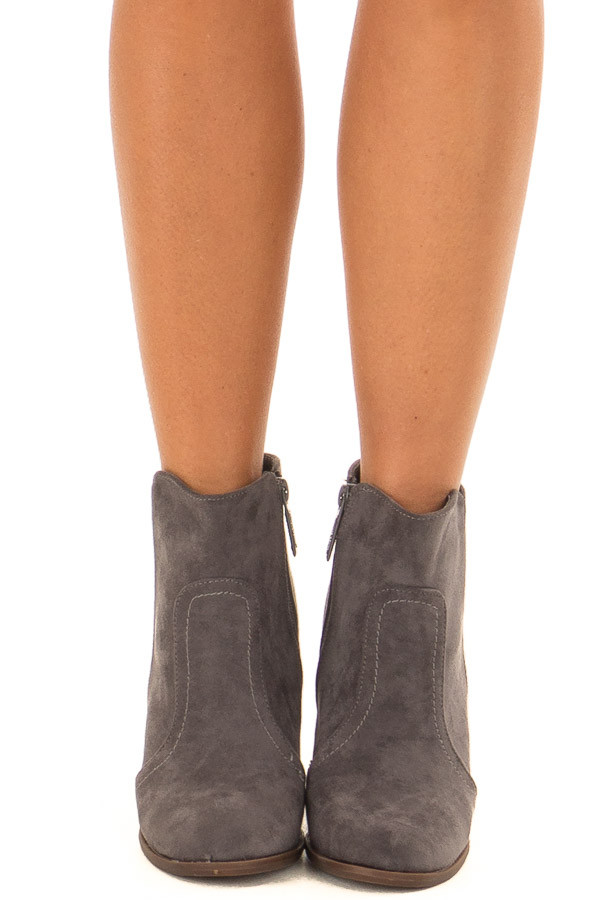 Charcoal Suede Booties With Walnut Stacked Block Heel front view