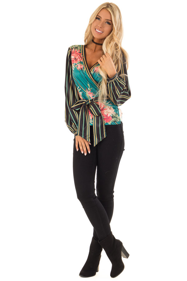 Multicolor Printed Surplice Top with Long Bishop Sleeves front full body