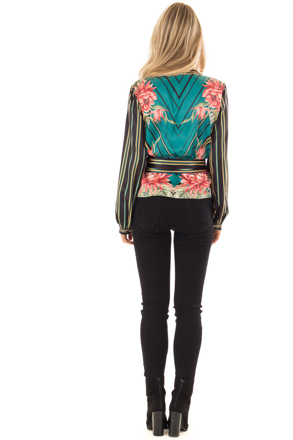 Multicolor Printed Surplice Top with Long Bishop Sleeves back full body