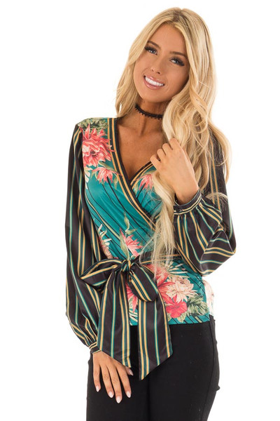 Multicolor Printed Surplice Top with Long Bishop Sleeves front close up