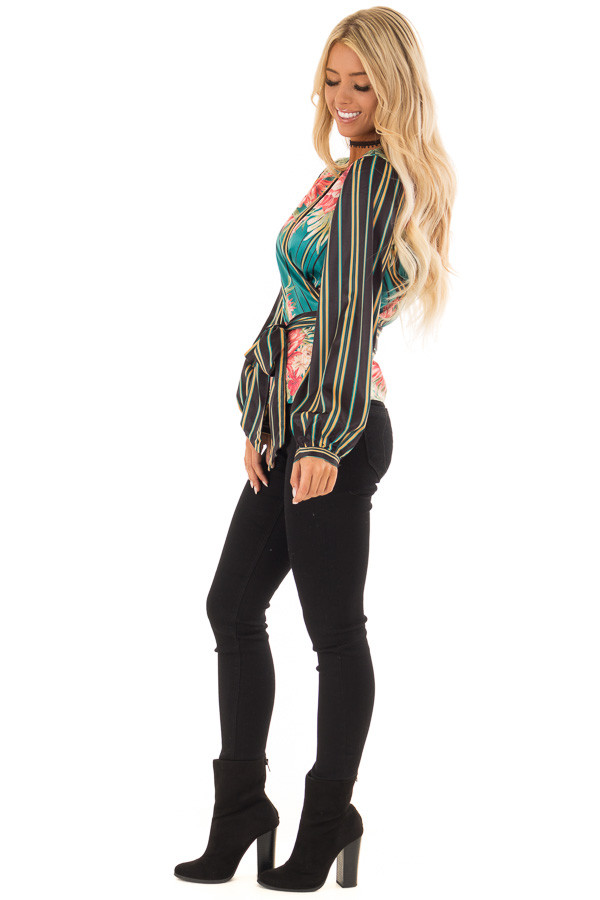 Multicolor Printed Surplice Top with Long Bishop Sleeves side full body