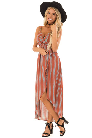 Rust Striped Twisted Bodice Dress with High Low Hemline front full body