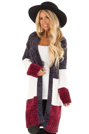 Charcoal White and Burgundy Color Block Long Knit Cardigan front close up
