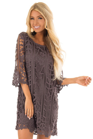 Charcoal 3/4 Sleeve Lace Dress with Scalloped Detail front close up
