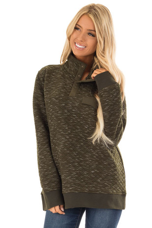 Olive Quilted Pullover Long Sleeve Sweater with High Collar front close up