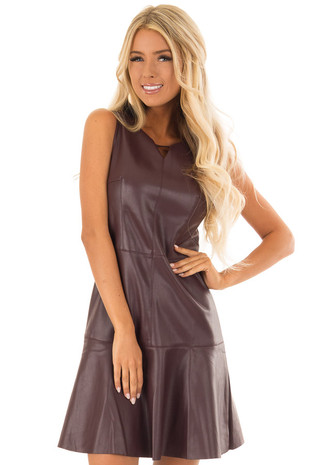 Wine Sleeveless Faux Leather Trumpet Dress front close up