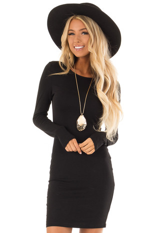 Black Long Sleeve Bodycon Dress front close up
