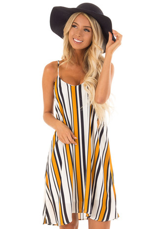 Mustard and Navy Vertical Striped Cami Dress front close up