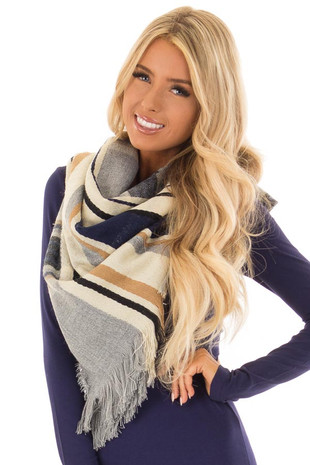 Heather Grey and Navy Striped Oblong Scarf with Fringe front close up
