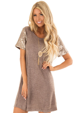 Mocha Short Sleeve Knit Dress with Sequin Contrast Sleeves front close up