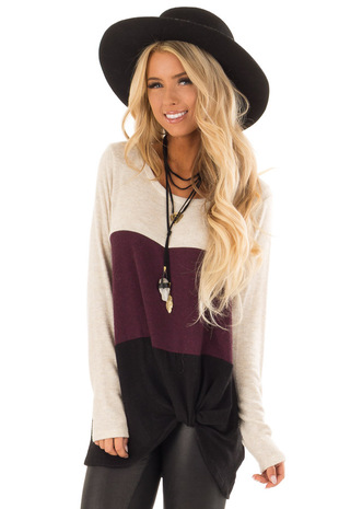 Oatmeal and Burgundy Color Block Top with Twisted Hemline front close up