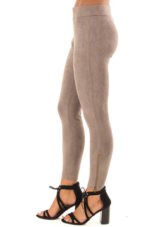 Taupe Faux Suede Leggings with Ankle Zipper side view