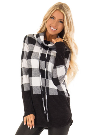 Black and White Plaid Cowl Neck Sweater front close up
