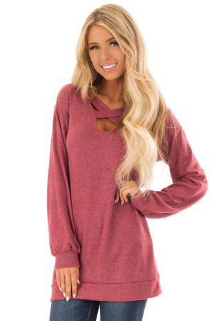 Rust Two Tone Soft Knit Criss Cross Band Sweater front close up