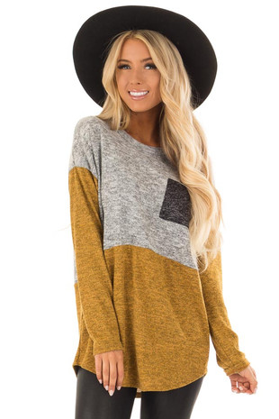 Mustard and Heather Grey Color Block Top with Chest Pocket front close up
