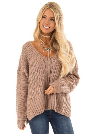 Mauve V Neck Pullover Knit Sweater with Side Slits front close up