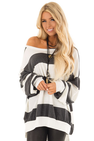 Charcoal and Off White Striped Oversize Sweatshirt front close up