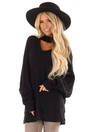 Black Loose Knit Sweater with Chest Cutout front close up
