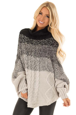 Black and Heather Grey Ombre Thick Knit Poncho Style Sweater front close up