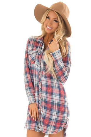 Washed Navy Plaid Long Sleeve Dress with Frayed Hem front close up