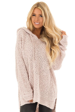 Light Blush Long Sleeve Pullover Hoodie with Side Slits front close up