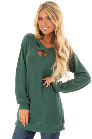Hunter Green Two Tone Soft Knit Criss Cross Band Sweater front close up