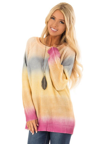 Dusty Yellow Ombre Color Block Long Sleeve Knit Sweater front close up