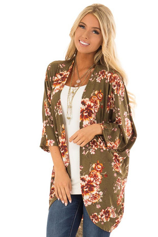 Olive Floral Large Print Kimono with Rounded Hemline front close up