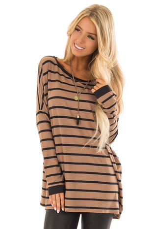 Mocha and Black Striped Long Sleeve Comfy Top front close up