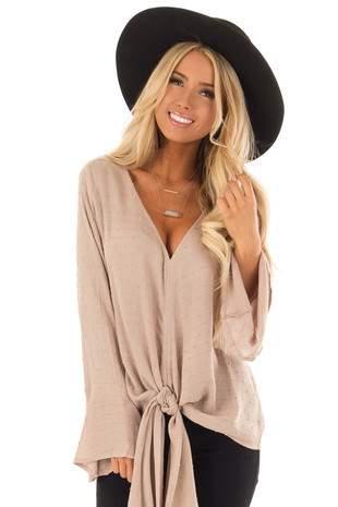 Latte Swill Dot Long Bell Sleeve Top with Front Tie front close up