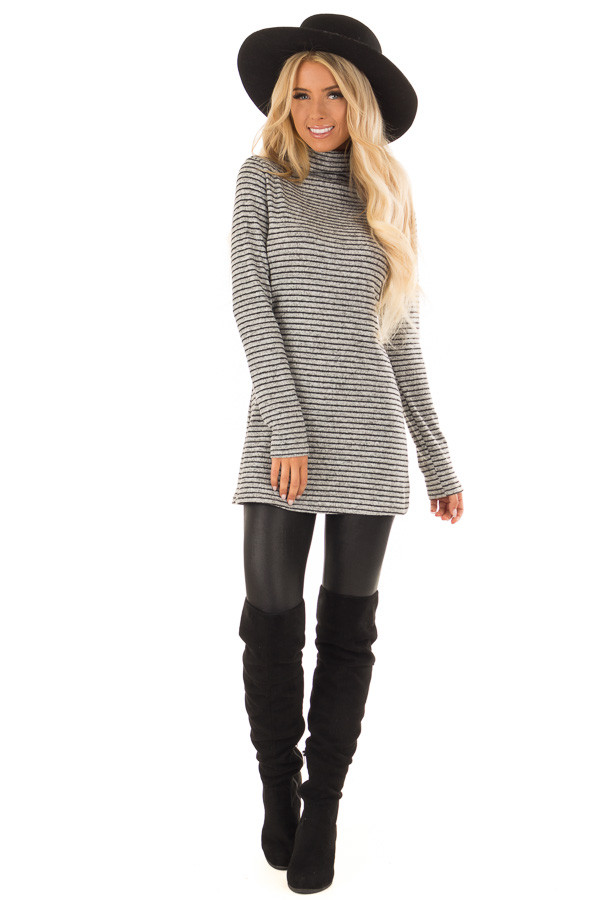 Black and Light Grey Striped High Neck Top with Long Sleeves front full body