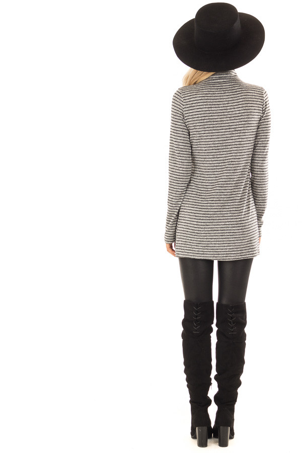 Black and Light Grey Striped High Neck Top with Long Sleeves back full body