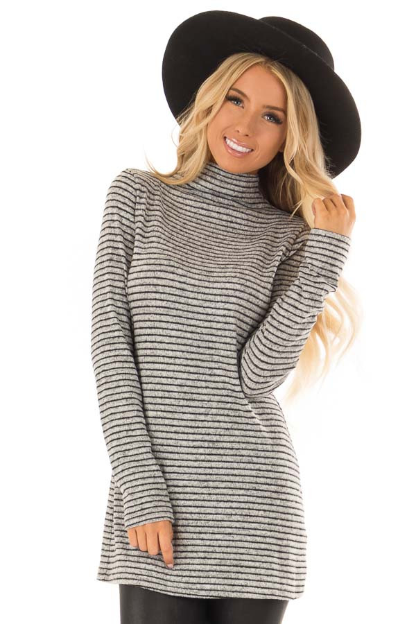 Black and Light Grey Striped High Neck Top with Long Sleeves front close up