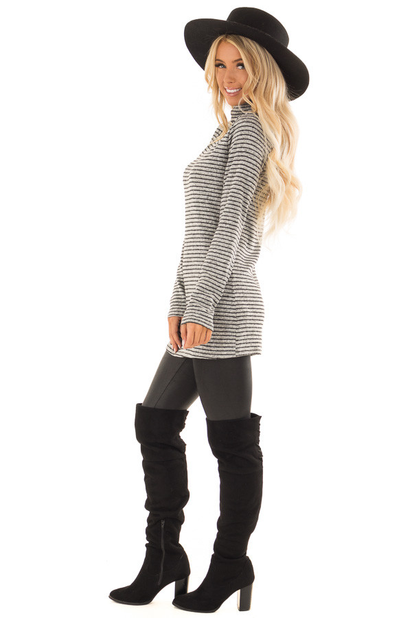Black and Light Grey Striped High Neck Top with Long Sleeves side full body