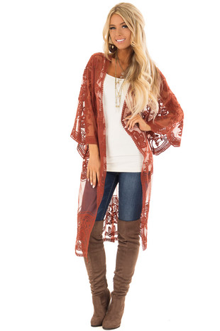 Brick Sheer Kimono with Lace and Crochet Detail front full body