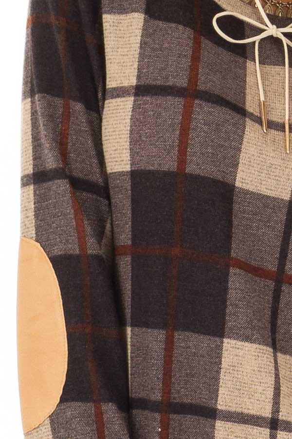 Charcoal Long Sleeve Plaid Top with Faux Suede Elbow Patches detail